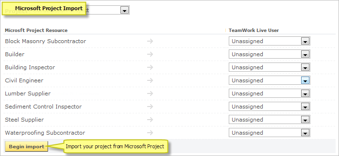 Microsoft Project import tool